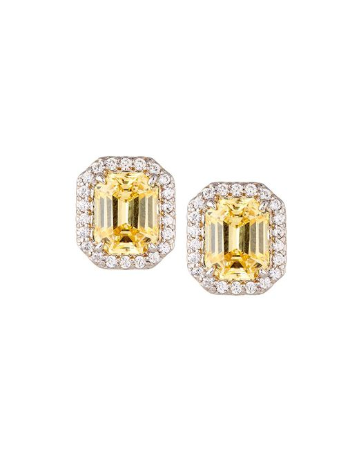 Fantasia by Deserio - Yellow Emerald-cut Pave Stud Earrings - Lyst
