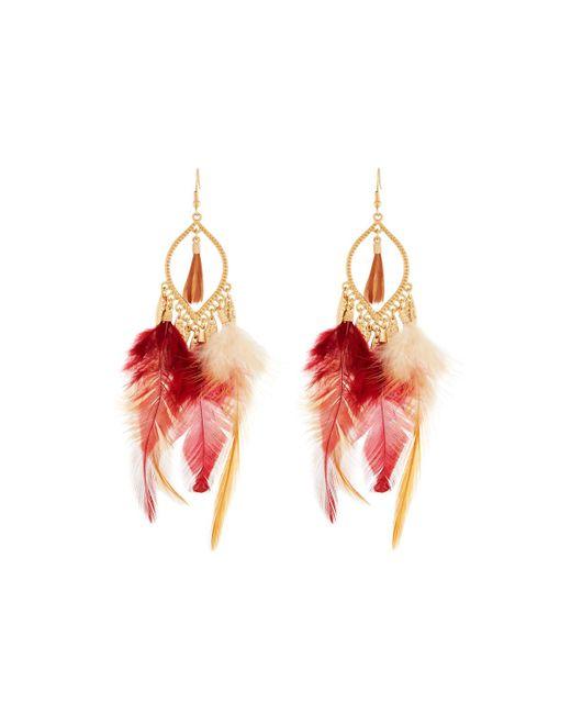 Panacea | Brown Feather Dangle Earrings | Lyst