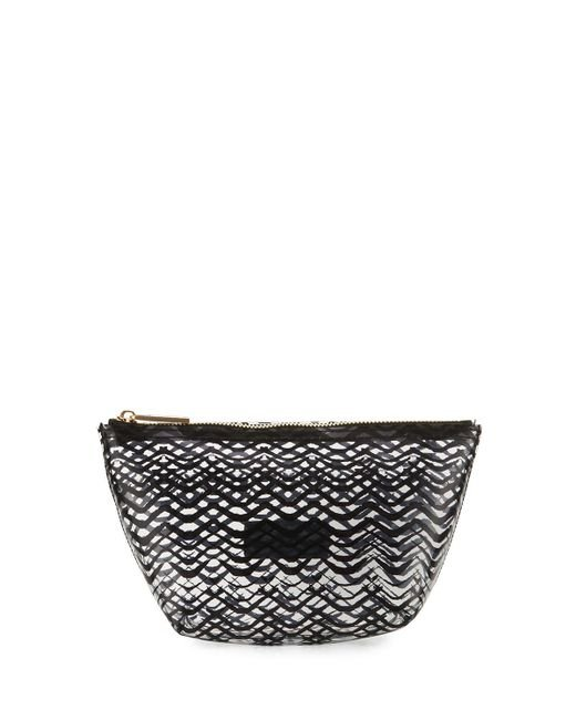 Neiman Marcus | Black Squiggle-stripe Clear Pouch Bag | Lyst