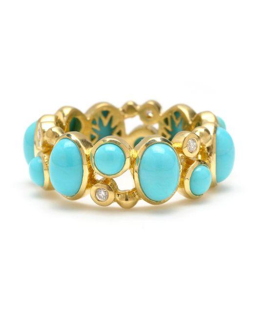 Elizabeth Showers | Blue 18k Madeleine Turquoise & Diamond Band Ring | Lyst