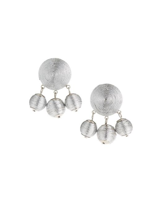 Fragments - Metallic Threaded Statement Earrings - Lyst