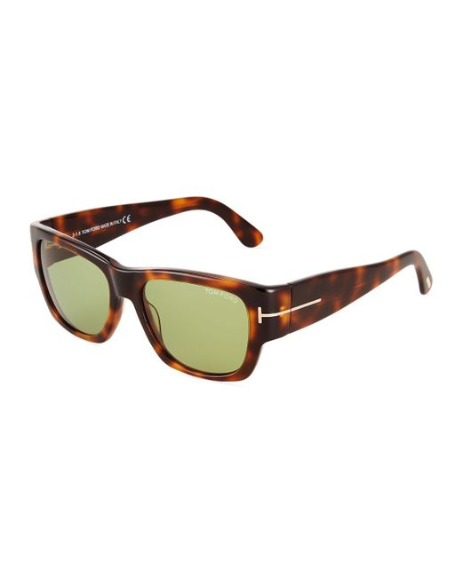 Tom Ford - Brown Square Havana Plastic Sunglasses - Lyst