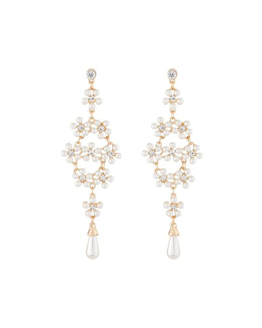Kenneth Jay Lane - Metallic Pearly Crystal Drop Earrings - Lyst