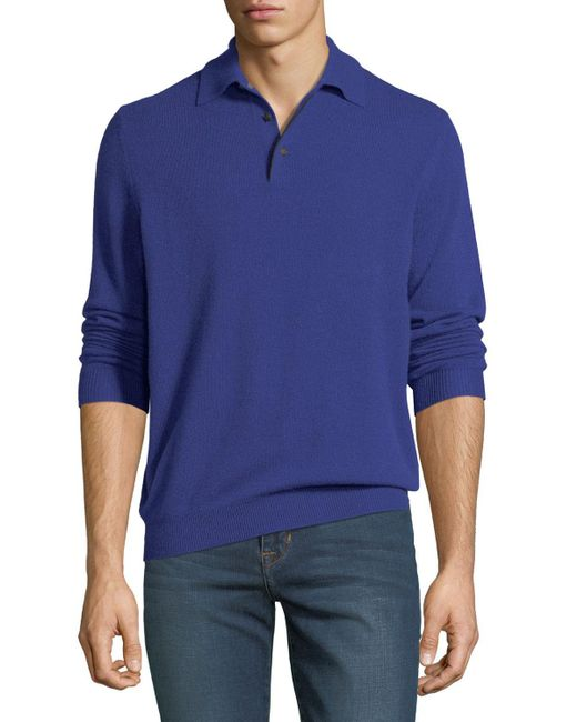 Neiman Marcus - Black Men's Cashmere Suede-piped Polo Sweater for Men - Lyst