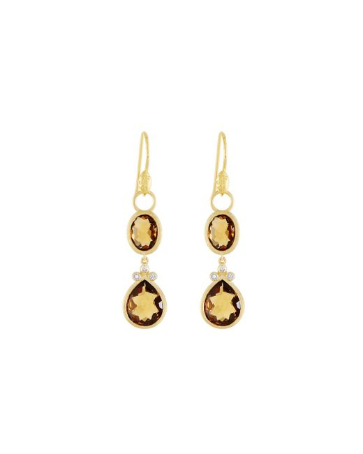 Jude Frances - Metallic Double Drop Simple Pave Earring Charms - Lyst