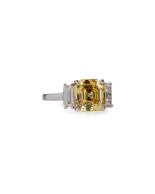 Fantasia by Deserio - Yellow Asscher-cut Canary Crystal Cocktail Ring - Lyst