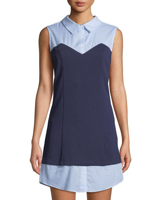English Factory - Blue Sleeveless Knit-bodice Combo Shirtdress - Lyst