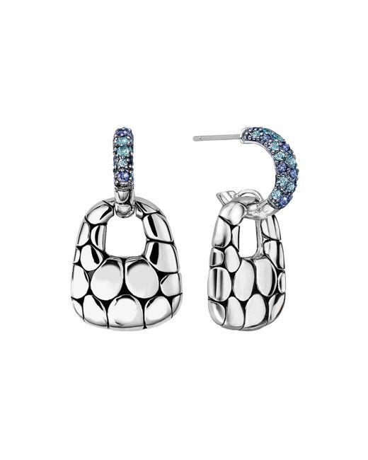John Hardy - Metallic Kali Silver Lava Drop Earrings W/ Swiss Blue Topaz & Iolite - Lyst