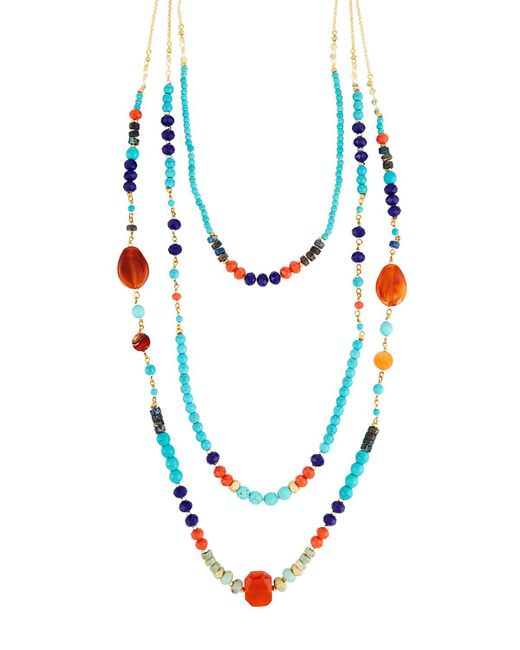 Nakamol - Blue Multicolor Bead Layered Necklace - Lyst