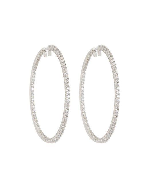 Penny Preville - 18k White Gold & Diamond Engraved Xl Hoop Earrings - Lyst