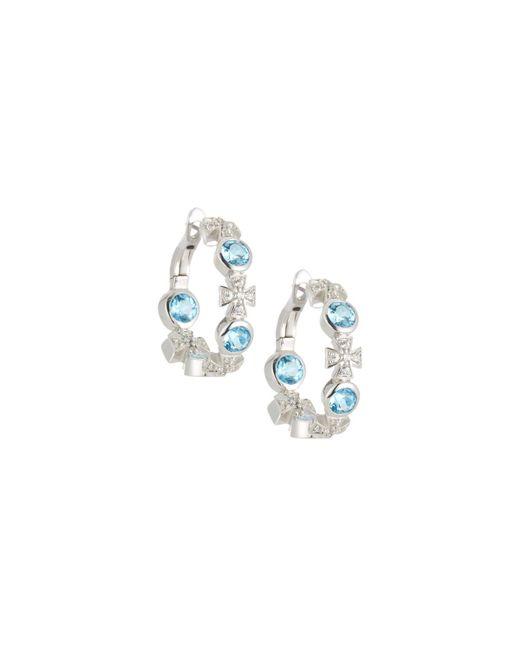 Elizabeth Showers | Maltese Cross Blue Topaz & Sapphire Hoop Earrings | Lyst