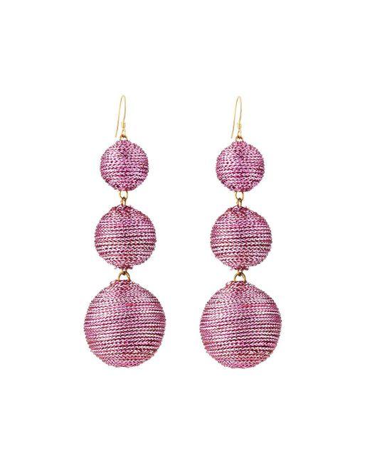 Kenneth Jay Lane - Pink Threaded Triple-drop Ball Earrings - Lyst