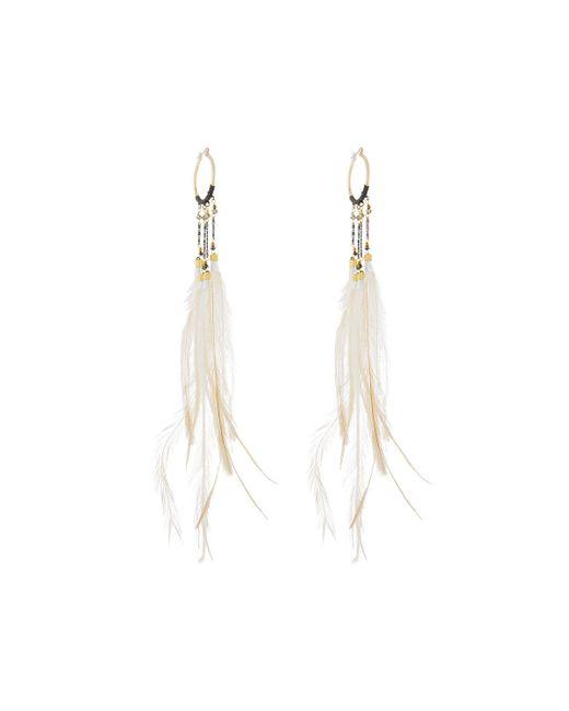 Nakamol - Brown Long Feather Dangle Hoop Earrings - Lyst