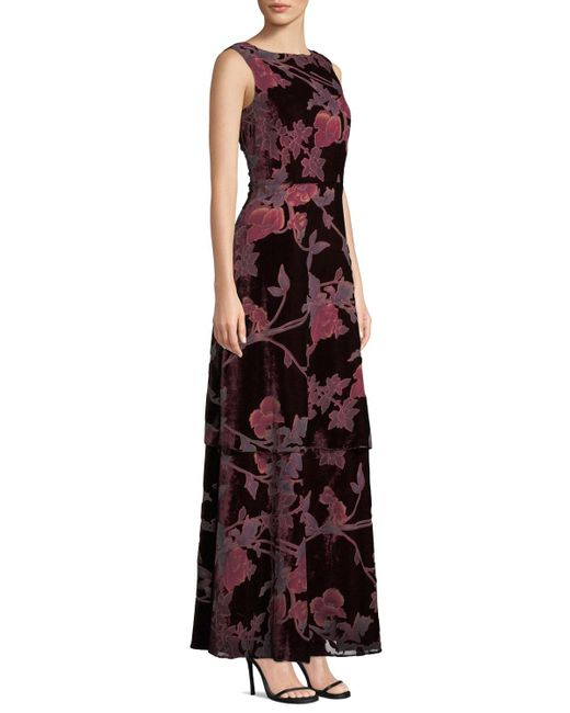 57ff1a962a ... Tahari - Multicolor Velvet Burnout Tiered Evening Gown - Lyst