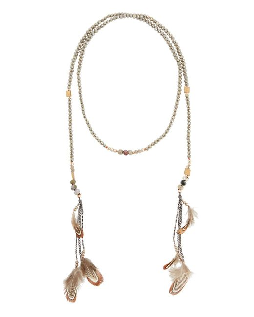 Nakamol - Brown Crystal Lariat Feather Necklace - Lyst