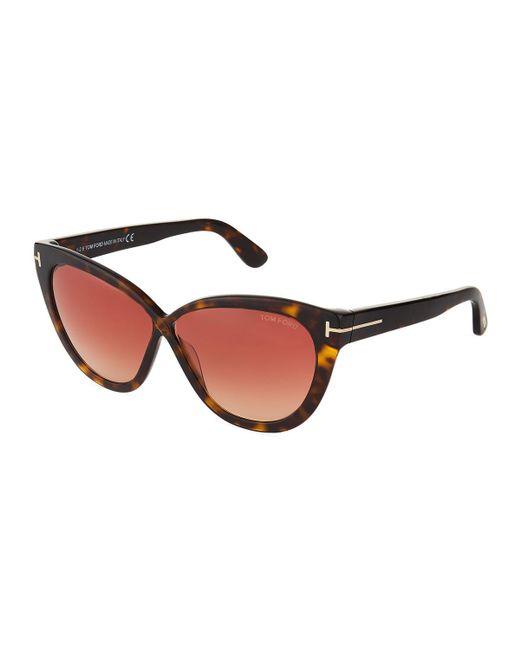 Tom Ford - Brown Cat-eye Acetate Sunglasses - Lyst