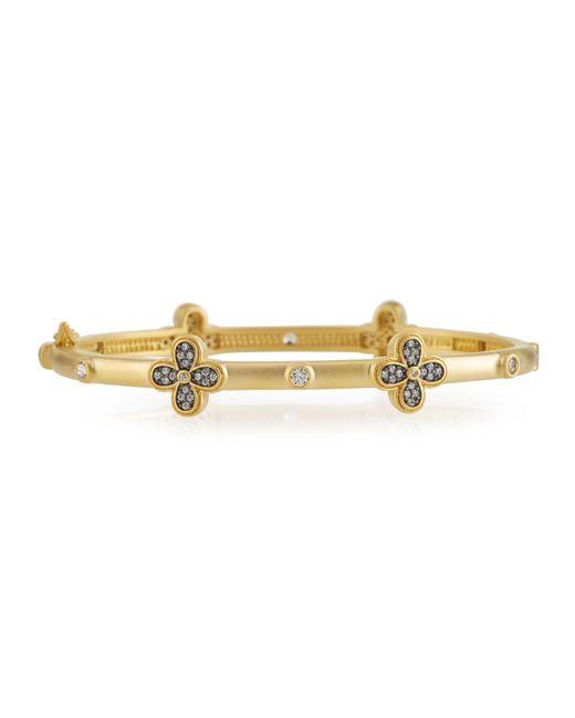 Freida Rothman - Metallic Thin Stackable Cz Clover Bangle Bracelet - Lyst