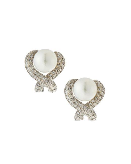 Belpearl - 14k White Gold Diamond Helix & Pearl Earrings - Lyst