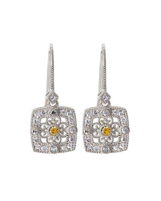 Judith Ripka   Yellow Square Crystal & Sapphire Filigree Drop Earrings   Lyst