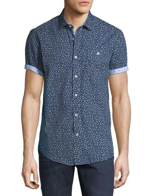 Report Collection - Blue Men's Short-sleeve Bird Print Sport Shirt for Men - Lyst