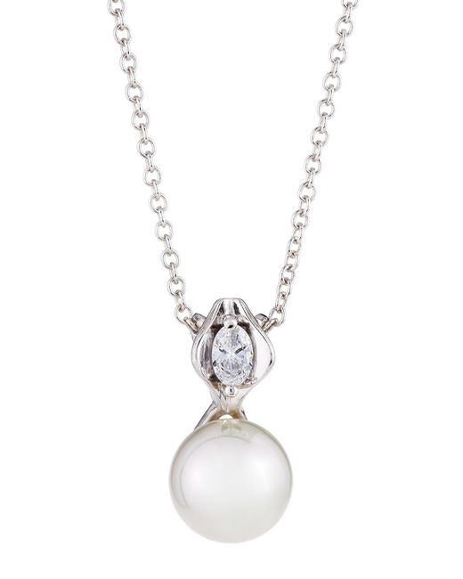 Majorica - White 12mm Simulated Pearl & Crystal Pendant Necklace - Lyst