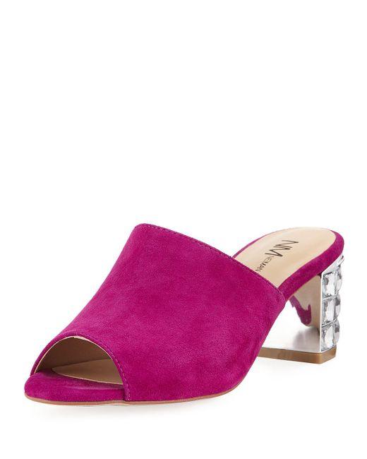 Neiman Marcus - Pink Carly Slide Mule - Lyst