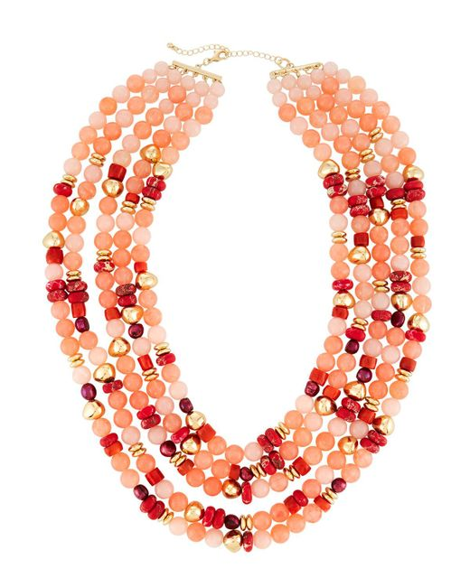 Lydell NYC - Pink Multi-strand Necklace W/ Pearls - Lyst