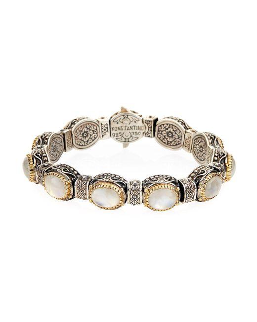 Konstantino | White Erato Oval Labradorite Doublet Link Bracelet | Lyst