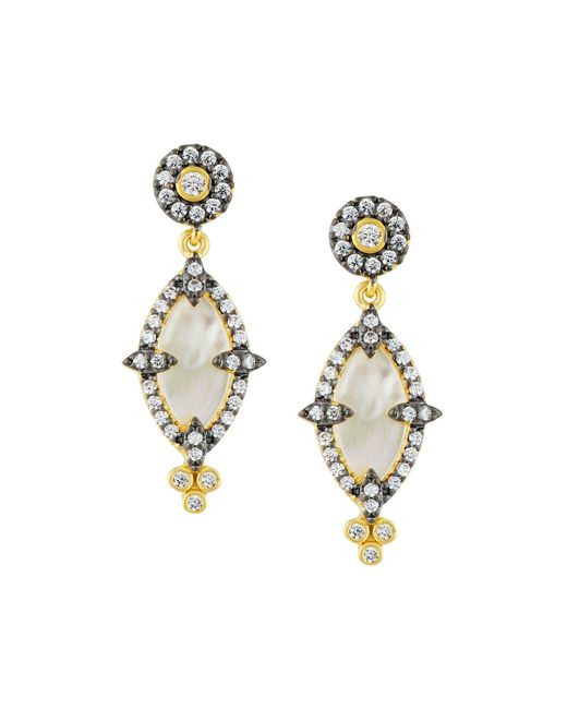 Freida Rothman - White Iridescent Crystal Marquise Drop Earrings - Lyst
