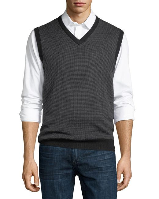Neiman Marcus | Black Birdseye-knit Wool-blend Vest for Men | Lyst