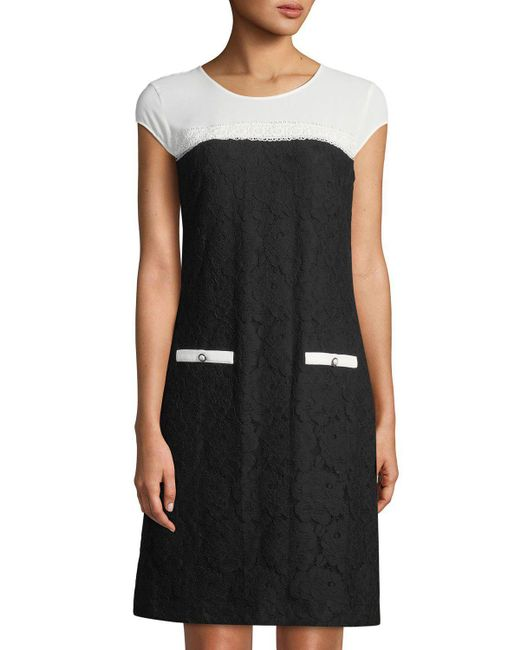 Lyst Karl Lagerfeld Colorblocked Stretch Lace Cap Sleeve Dress In