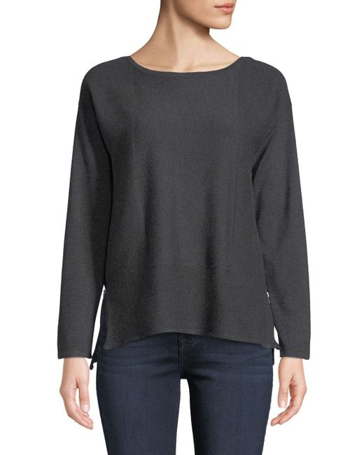 Neiman Marcus - Gray Bateau-neck Side Zip Sweater - Lyst