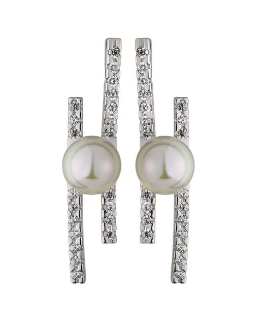 Majorica | White Kate Pave Cz Bar & Pearl Stud Earrings | Lyst