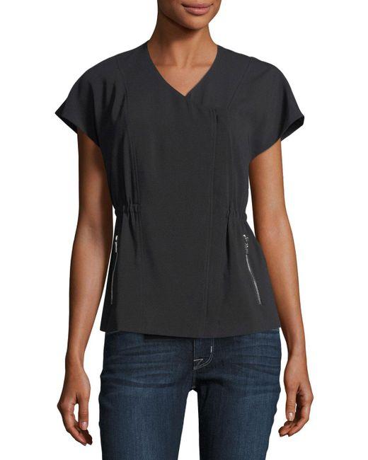 Laundry by Shelli Segal | Black Short-sleeve Crepe Moto Jacket | Lyst