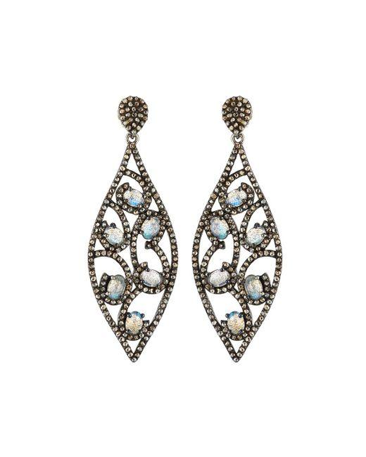 Bavna   Metallic Diamond & Moonstone Marquise Drop Earrings   Lyst