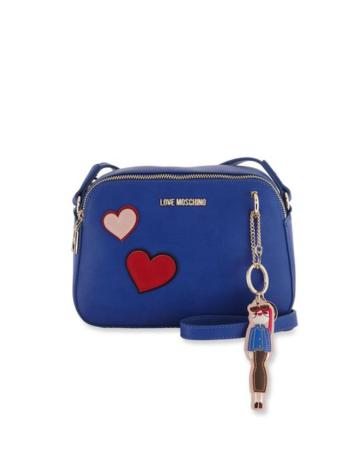 Love Moschino - Blue Clutch Bag With Hearts & Girl Charm - Lyst