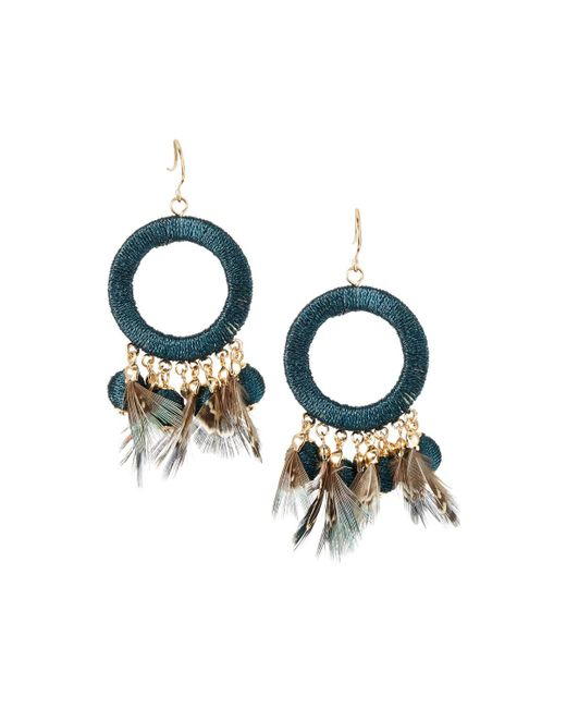 Lydell NYC - Green Thread Wrapped & Feather Drop Earrings - Lyst