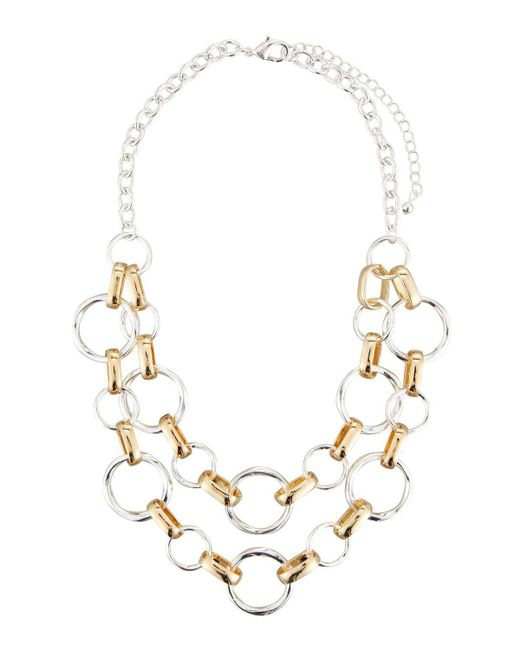 Fragments | Metallic Classic Two-tone Circle Link Double-row Necklace | Lyst
