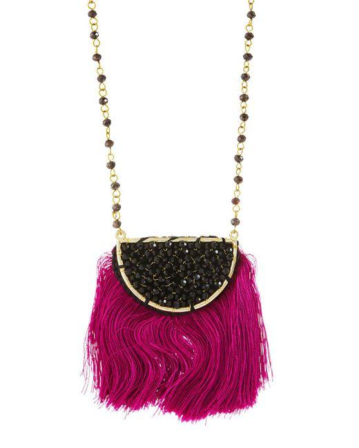 Panacea - Pink Crystal Hemisphere Fringe Pendant Necklace - Lyst