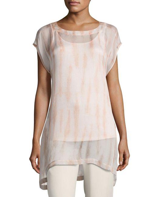 Eileen Fisher - Multicolor Cap-sleeve Sheer Silk Shibori Tunic - Lyst