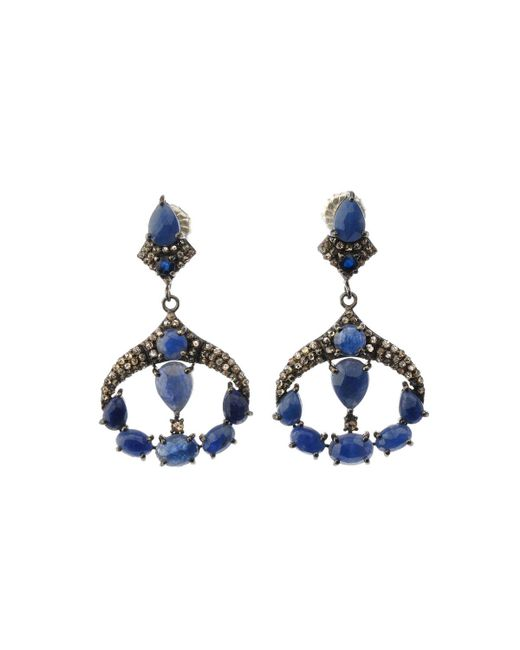 Bavna - Metallic Silver Deco Drop Earrings With Blue Sapphire & Diamonds - Lyst