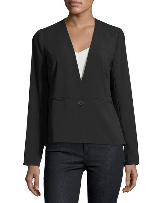 Laundry by Shelli Segal | Black Mixed Media One-button Blazer | Lyst