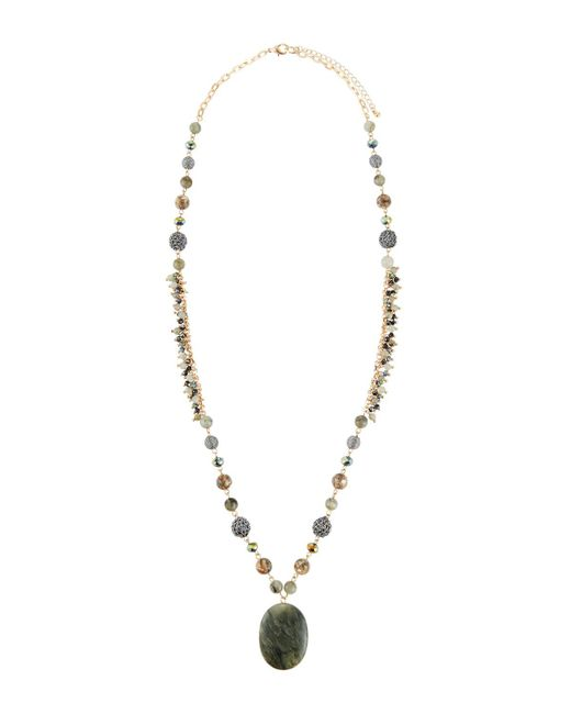 Lydell NYC - Green Long Oval Pendant Necklace - Lyst