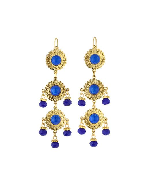 Jose & Maria Barrera | Blue Cabochon & Crystal Triple-drop Earrings | Lyst
