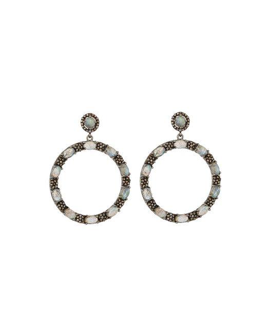 Bavna | Gray Round Labradorite & Diamond Drop Earrings | Lyst
