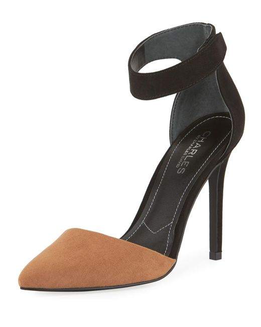Charles David | Black Pointer Two-tone Ankle Pump | Lyst