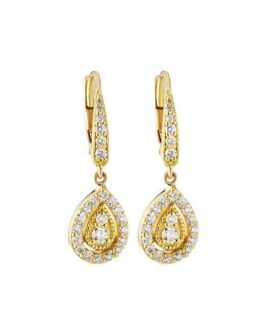 Penny Preville - Metallic Small 18k Gold Prong Diamond Pear Drop Earrings - Lyst