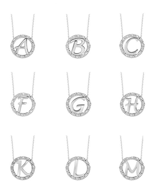 KC Designs - 14k White Gold Diamond Initial Necklace - Lyst