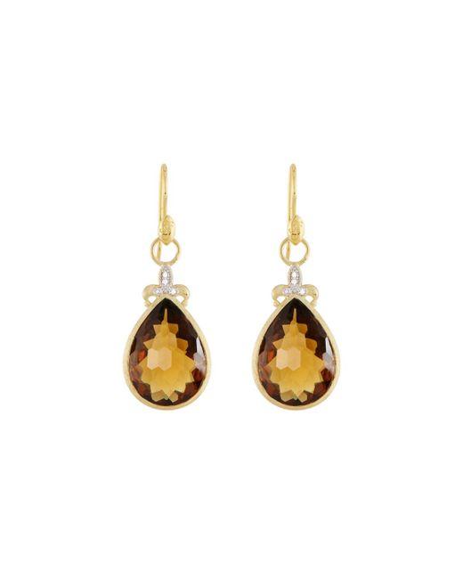 Jude Frances - Metallic Large Pear Stone Fleur Earring Charms - Lyst