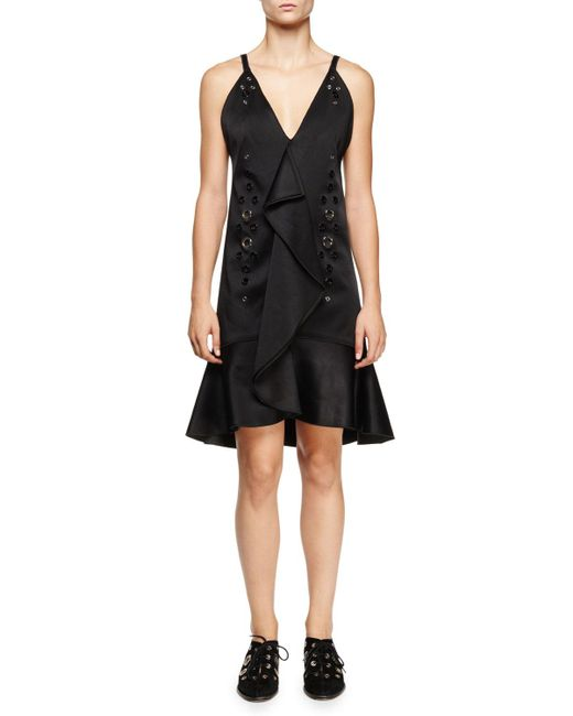 Proenza Schouler - Eyelet-embellished Ruffle-front Dress Black - Lyst
